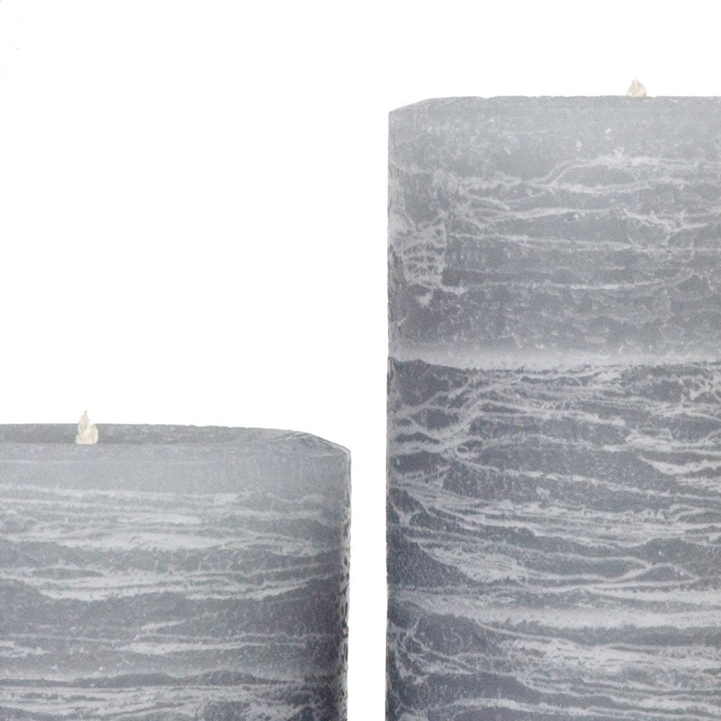 gray pillar candle rustic in dove gray available in sizes 3x4 3x6 3x9 4x6 4x9 hand poured artisan candles by Nordic Candle