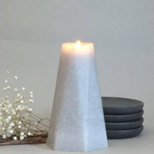 Geometric Gray Pillar Candle Hexagon 6 inches tall  by Nordic Candle