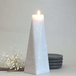 Geometric Gray Pillar Candle Octagon 9 inches tall  by Nordic Candle