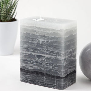 50 Shades of Gray Candle by Nordic Candle - gray to black stripped 6 inches tall - two wick