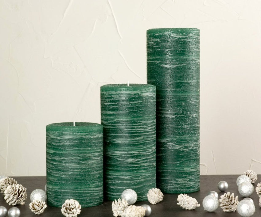 Green Rustic Pillar Candle