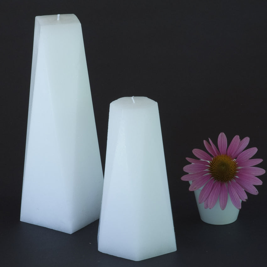 Set of Two Candles - White Hexagon and Octagon Pair of Pillars by Nordic Candle