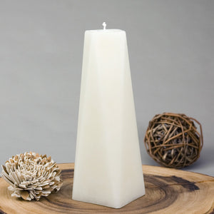tall ivory pillar candle octagon shape 8 sided off white 9