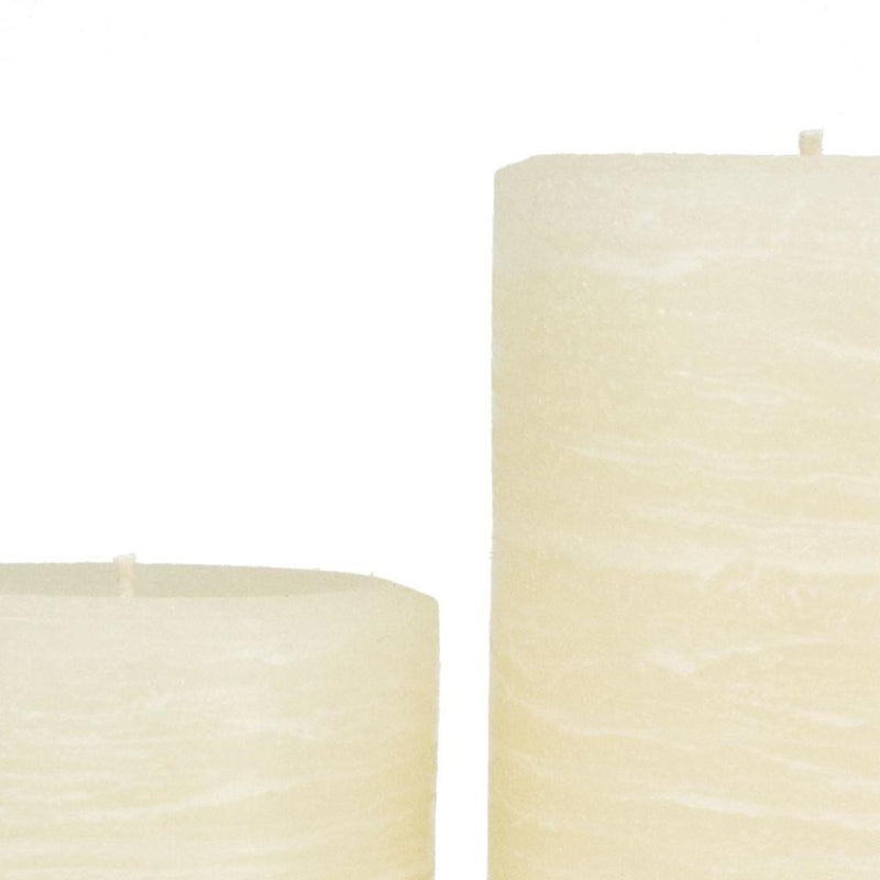 Ivory Rustic Pillar Candle by Nordic Candle Img1 Close Up