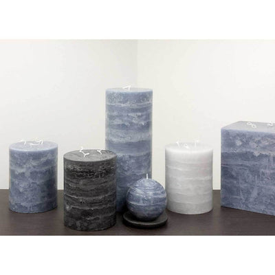 "Large Rustic Candle 5x6 and 5x12"" Pillar Candle Slate Blue Rustic Texture by Nordic Candle Img3"