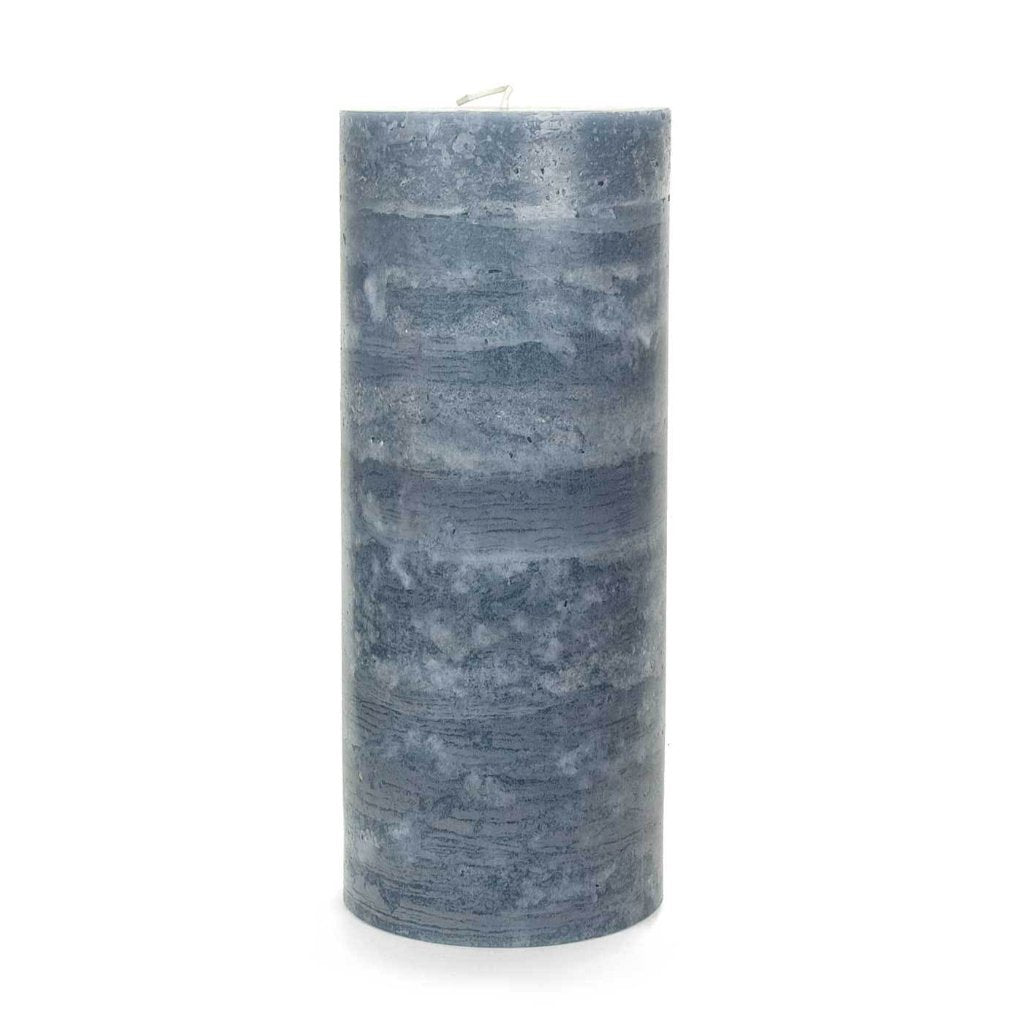 "Slate Blue Pillar Candle | X-Large 5x12"" – Nordic Candle for Blue Candle White Background  56bof"