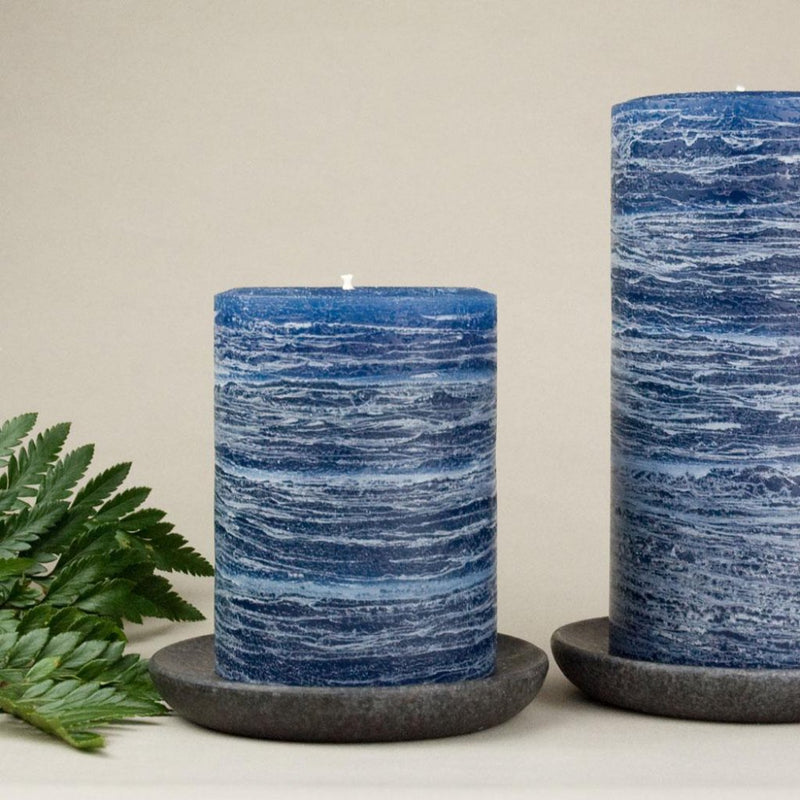 navy blue pillar candle rustic candle in navy blue available in sizes 3x4 3x6 3x9 4x6 4x9 hand poured artisan candles by Nordic Candle
