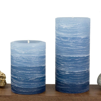 navy pillar candle rustic candle layered from light blue to navy blue available in sizes 3x4 or 3x6 hand poured artisan candles by Nordic Candle Img2