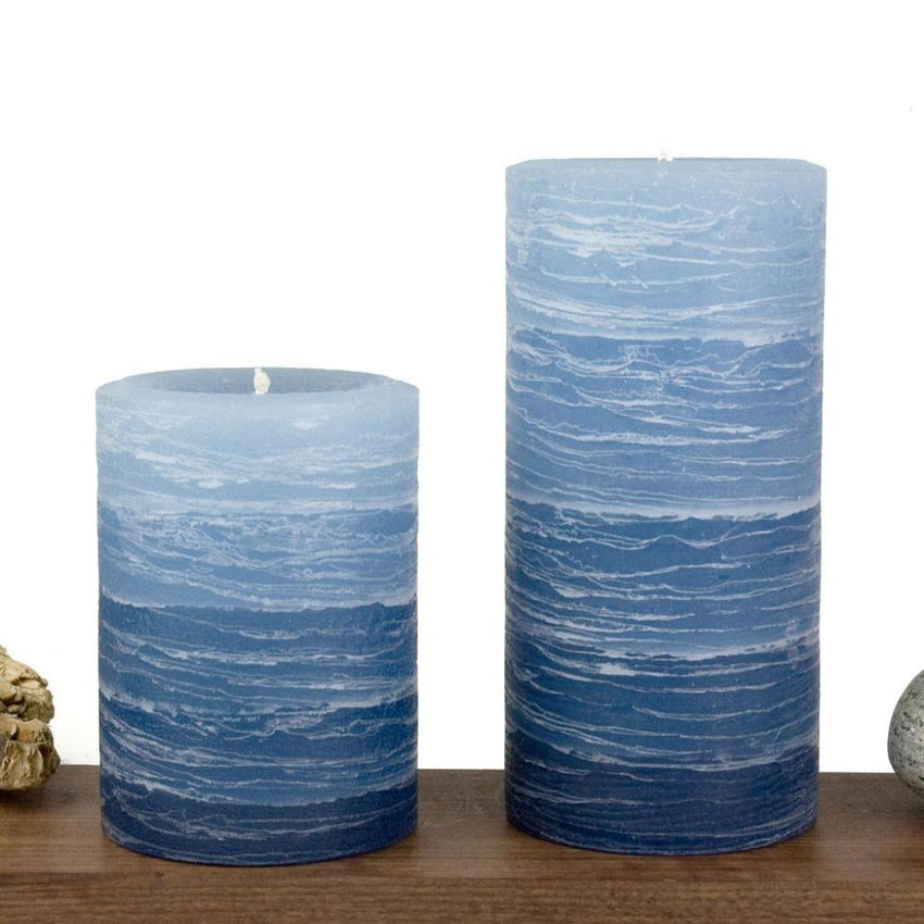 navy pillar candle rustic candle layered from light blue to navy blue available in sizes 3x4 or 3x6 hand poured artisan candles by Nordic Candle