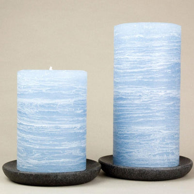 "navy blue pillar candles 3x4"" and 3x6"" Light Blue by Nordic Candle img2 closeup"