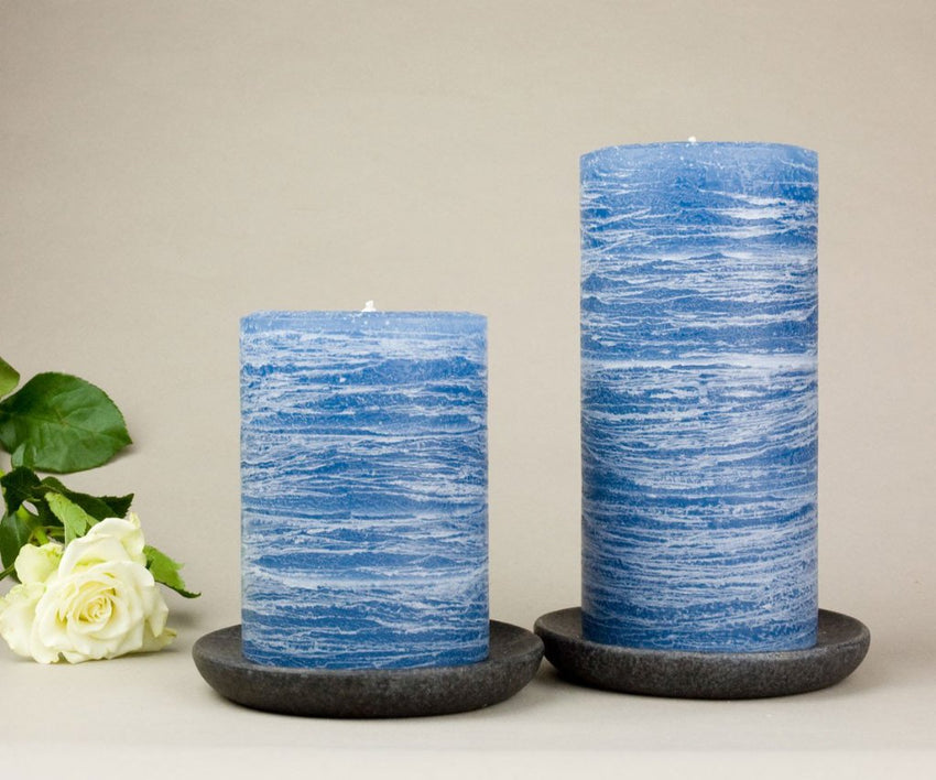 "navy blue pillar candles 3x4"" and 3x6"" Denim Blue Medium Shade by Nordic Candle"