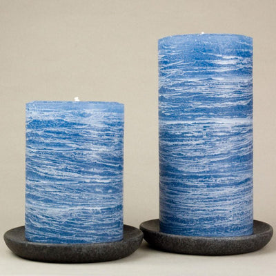 "navy blue pillar candles 3x4"" and 3x6"" Denim Blue Medium Shade by Nordic Candle img2 closeup"