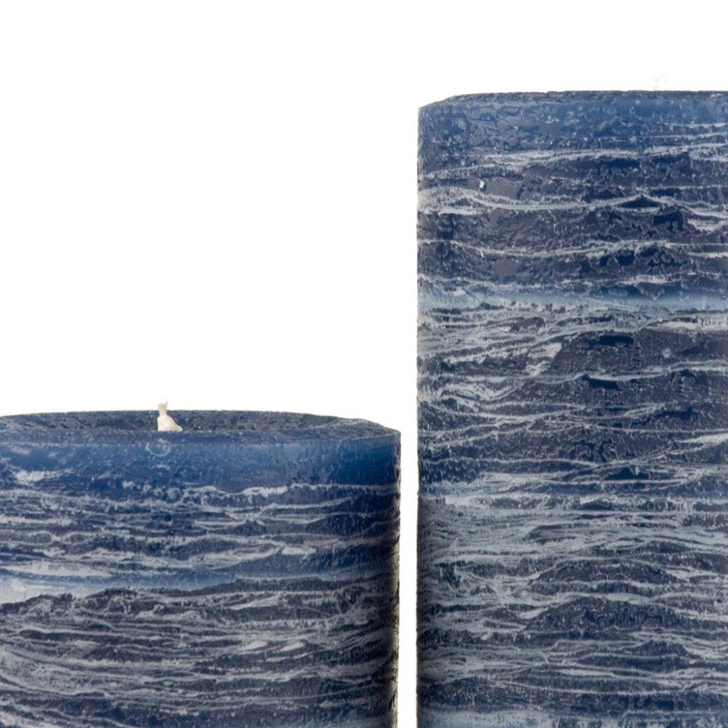 Blue Pillar Candle | Navy Blue Rustic