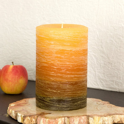 Orange to Brown Layered Pillar Candle available in 3x4 3x6 and 4x6 by Nordic Candle Img2