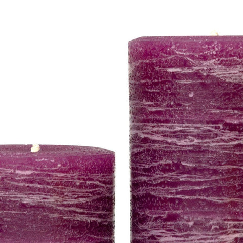 "Plum Rustic Pillar Candle 3x4"" 3x6 and 3x9"""