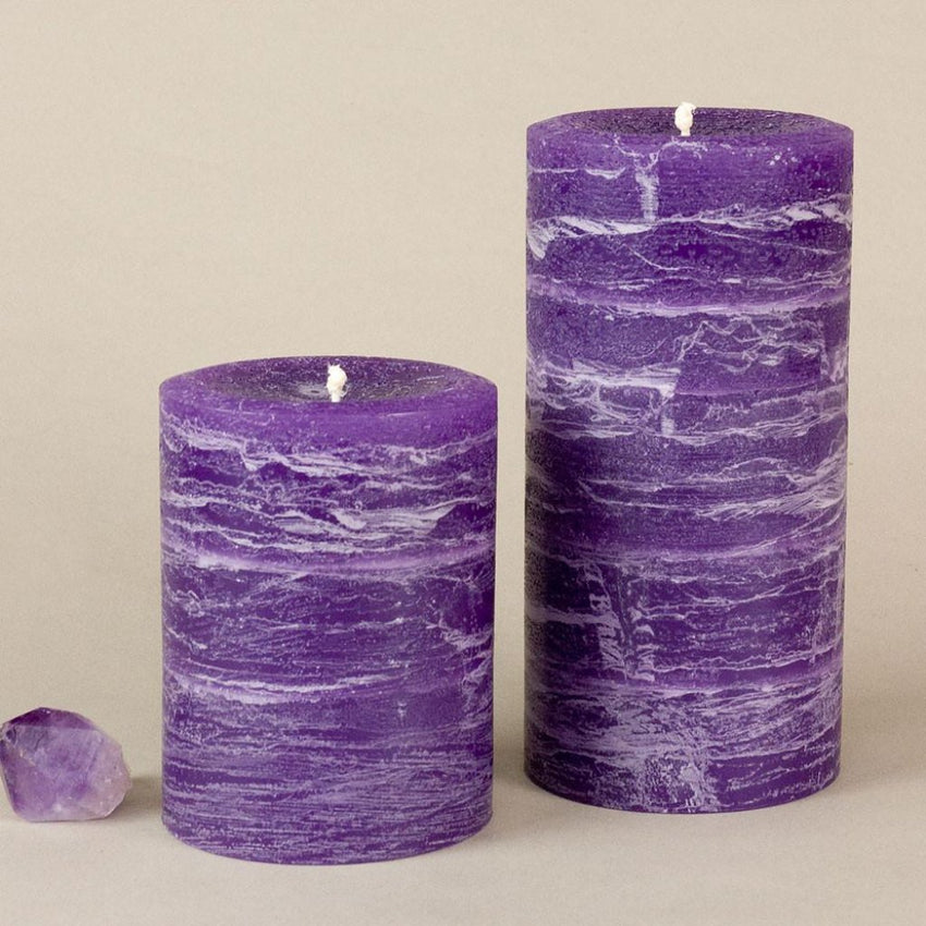 "Purple Rustic Pillar Candle 3 x 4"" and 3 x 6"" Amethyst Decor by Nordic Candle"