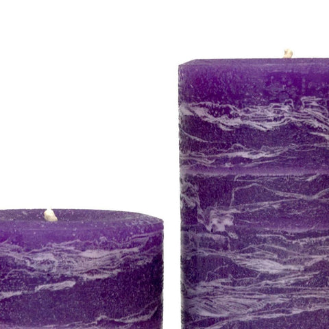 "Purple Rustic Pillar Candle 3x4"", 3x6"", 3x9"" 4x5"" Amethyst"