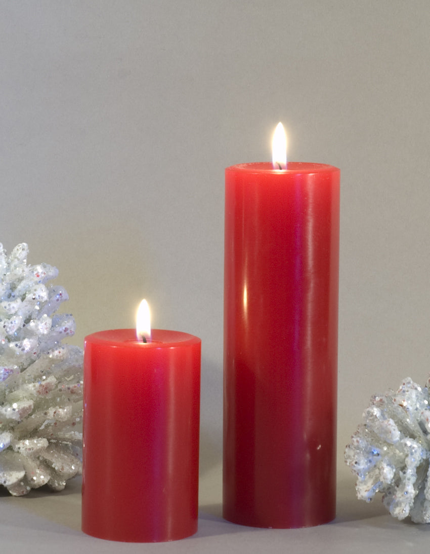 two red pillar candles 2x3 and 2x6 inches by Nordic Candle