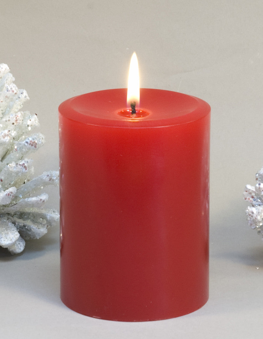 red pillar candle 3x4 inches by Nordic Candle
