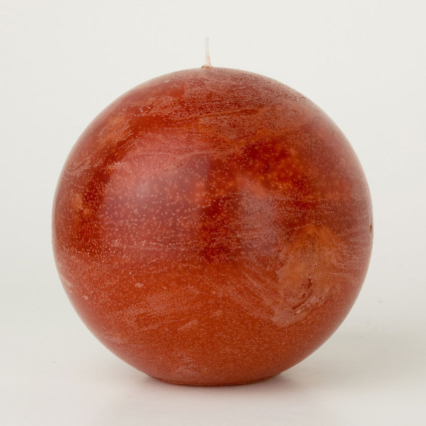 Rust Red Ball Candle 4""