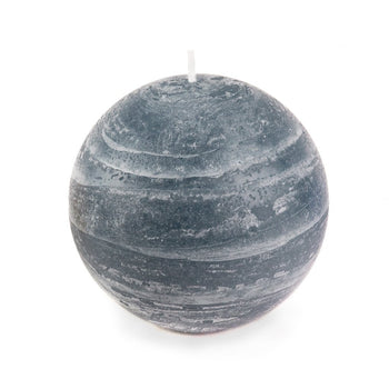 slate blue ball candle with a rustic texture surface 4 inch diameter by Nordic Candle white background img1