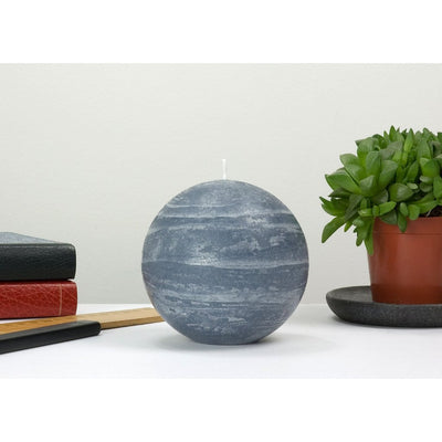 slate blue ball candle with a rustic texture surface 4 inch diameter by Nordic Candle img2