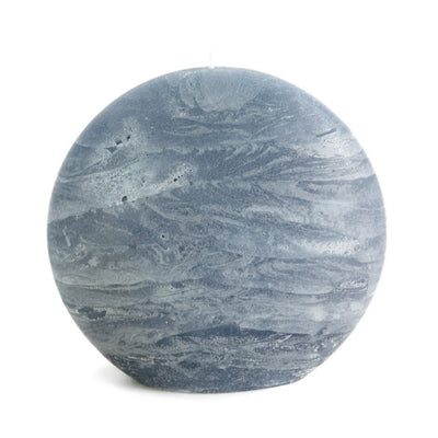 blue gray disc pillar candle rustic surface by Nordic Candle img1a