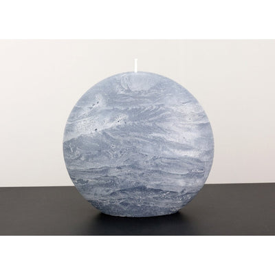blue gray disc pillar candle rustic surface by Nordic Candle img2