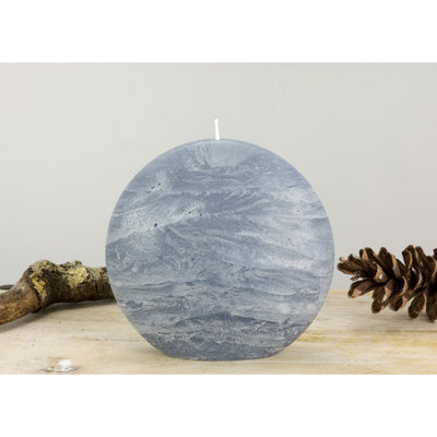 blue gray disc pillar candle rustic surface by Nordic Candle img3