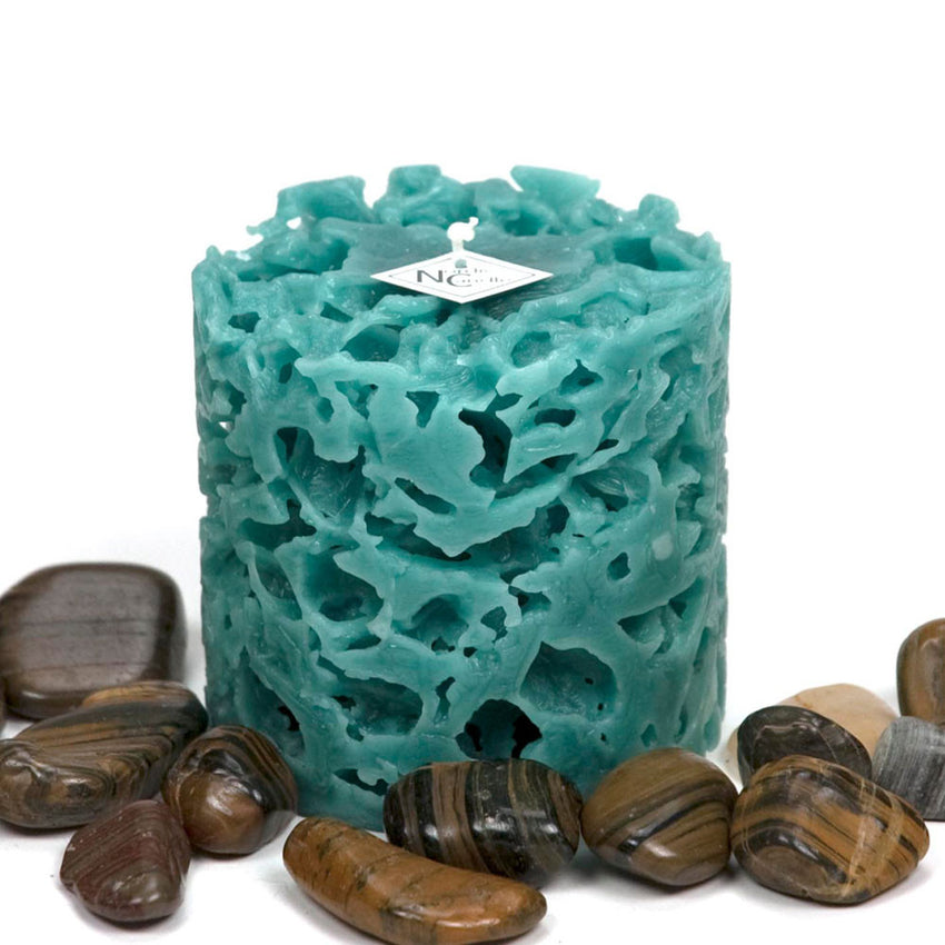 coral textured ice candle in the color teal by Nordic Candle image2