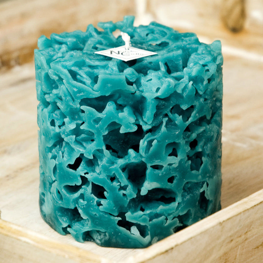 coral textured ice candle in the color teal by Nordic Candle