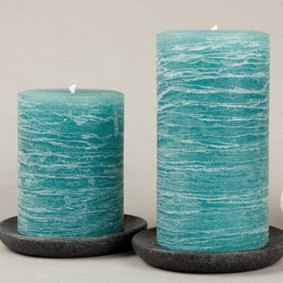 teal rustic candles pillar candles available in 3x4 3x6 3x9 hand poured artisan candles by Nordic Candle image2