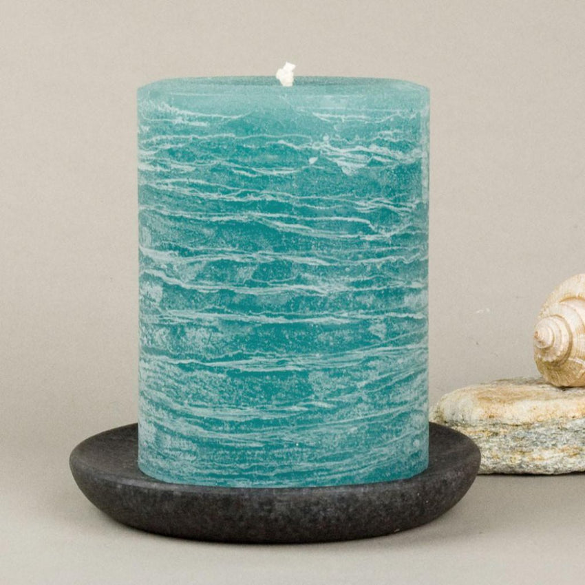 teal rustic candles pillar candles available in 3x4 3x6 3x9 hand poured artisan candles by Nordic Candle image3