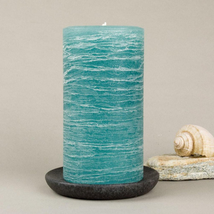 teal rustic candles pillar candles available in 3x4 3x6 3x9 hand poured artisan candles by Nordic Candle image4