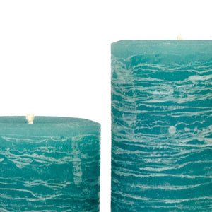 teal rustic candles pillar candles available in 3x4 3x6 3x9 hand poured artisan candles by Nordic Candle image1