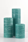 teal rustic candles pillars available in 3x4 3x6 3x9 hand poured artisan candles by Nordic Candle image5