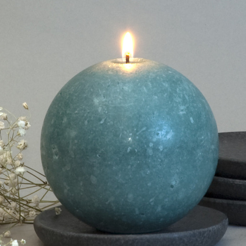 "Teal Ball Candle 4"" Geometric Shape by Nordic Candle"