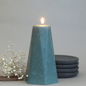 Geometric Teal Candle Hexagon Pillar 6 inches tall  by Nordic Candle