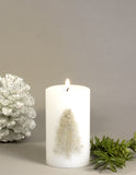 "Christmas Candle 2x3"" white pillar candle with a Christmas Tree by Nordic Candle"