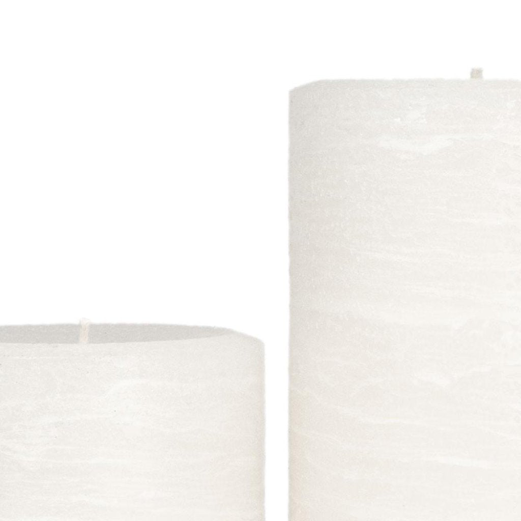 White Pillar Candle | Snow Rustic