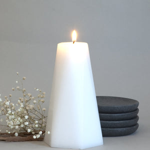 Geometric White Pillar Candle Hexagon 6 inches tall  by Nordic Candle