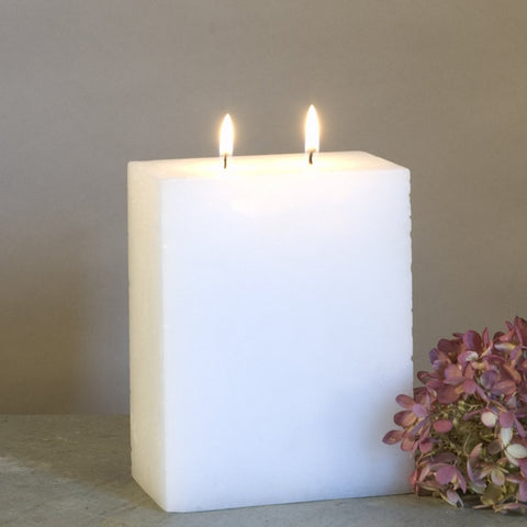 White Pillar Candle Two Wick