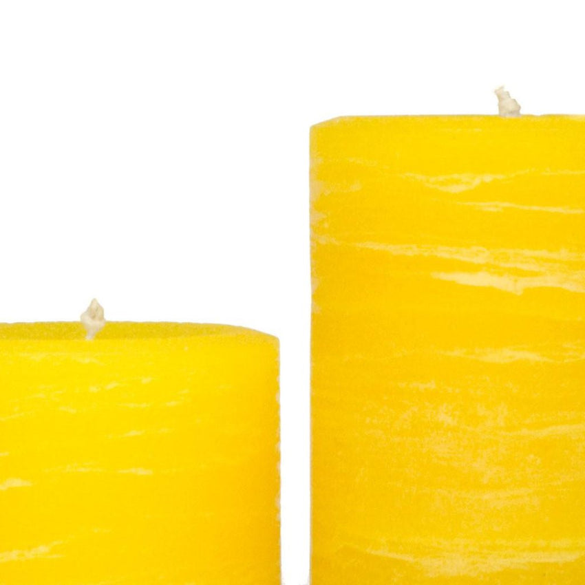 yellow rustic candles pillar candles available in 3x4 3x6 3x9 hand poured artisan candles by Nordic Candle