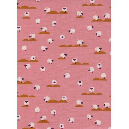 Fabric Cotton+Steel Panorama by Sarah Watts and Melody Miller - Sheep in Coral