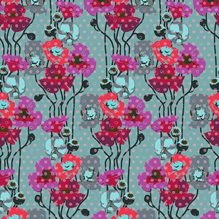 Fabric Free Spirit Floral Retrospective by Anna Maria Horner - Raindrops Poppies in Plum
