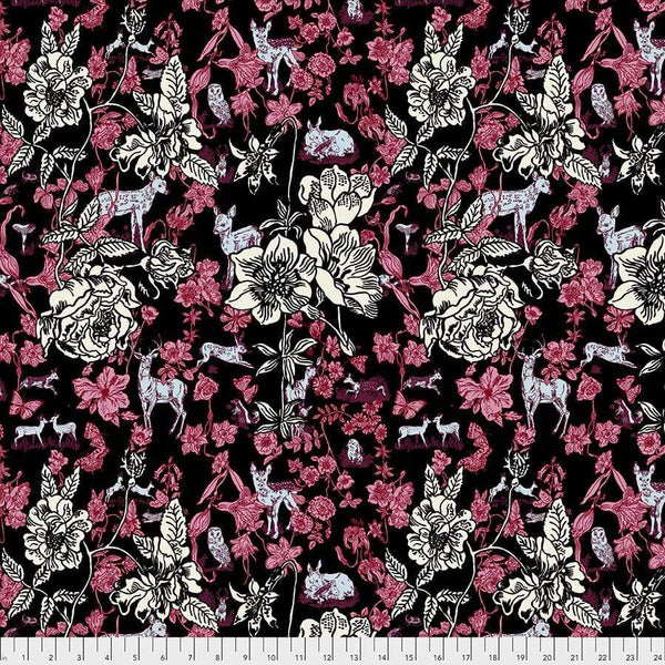 Fabric Free Spirit Woodland Walk by Nathalie Lete - Fawn in Flowers in Black