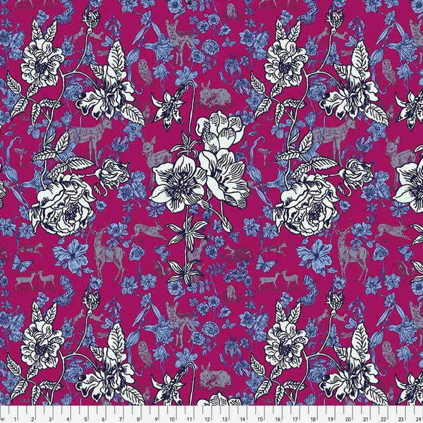 Fabric Free Spirit Woodland Walk by Nathalie Lete - Fawn in Flowers in Pink