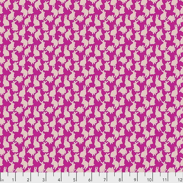 Fabric Free Spirit Woodland Walk by Nathalie Lete - Mini Rabbits in Fuchsia