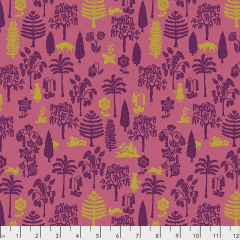 Fabric Free Spirit Woodland Walk by Nathalie Lete - Nearby Wolf in Coral