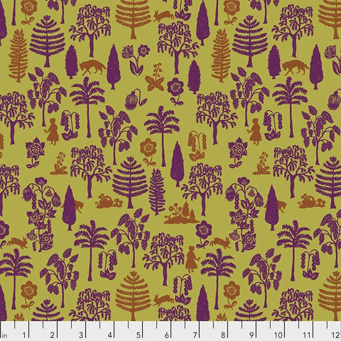 Fabric Free Spirit Woodland Walk by Nathalie Lete - Nearby Wolf in Olive